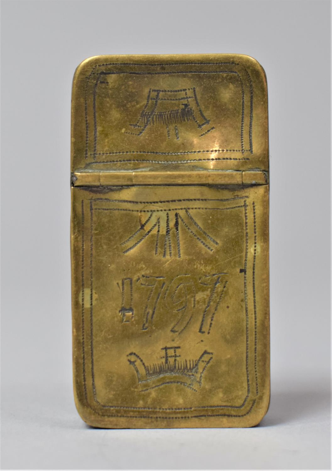 A Georgian Rectangular Brass Two Division Box, Possibly for Snuff, One Side Containing Lock of Hair,