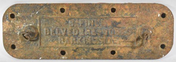 A Late 19th Century Cast Iron Boiler Plate, for B Finch Belvedere Works, Barkingside, 61cm Long