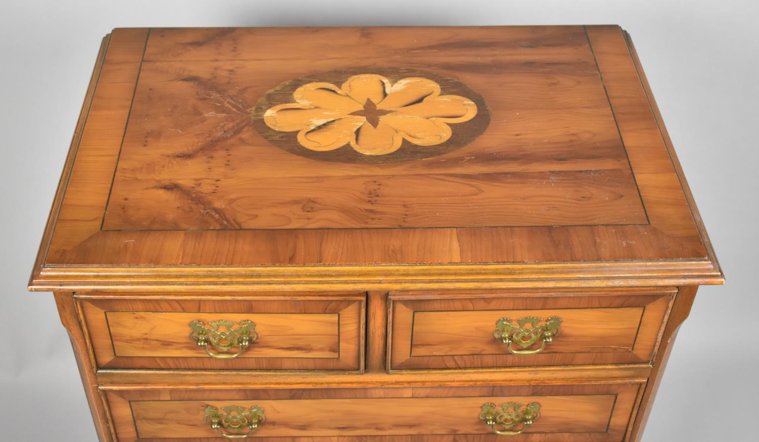 A Modern Crossbanded Yew Wood Miniature Chest of Two Short and Three Long Drawers, 63cm x 40cm x - Image 2 of 2