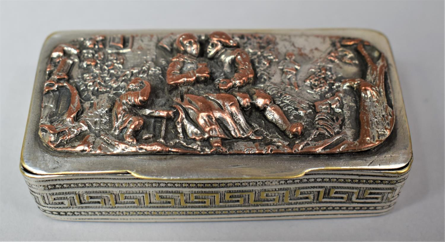 A French Silver Plated and Mixed Metal Rectangular Snuff, the Hinged Lid Decorated in Relief with - Image 2 of 7