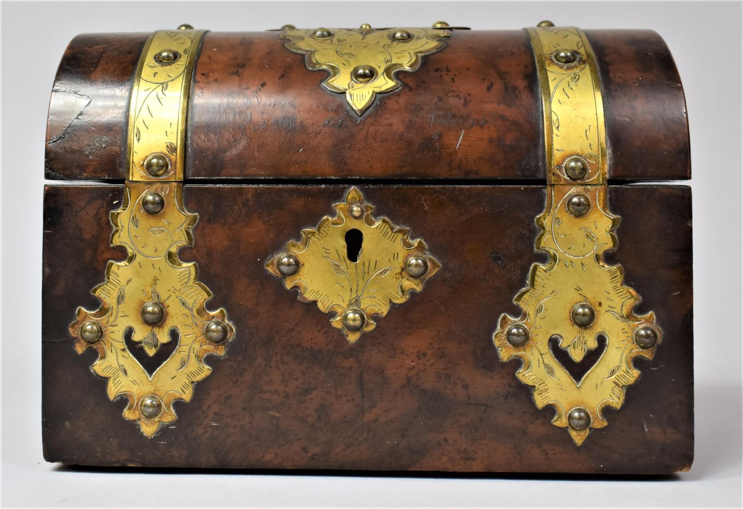 A Victorian Brass Mounted Burr Walnut, Dome Topped Casket with Hinged Lid, 20cm Wide
