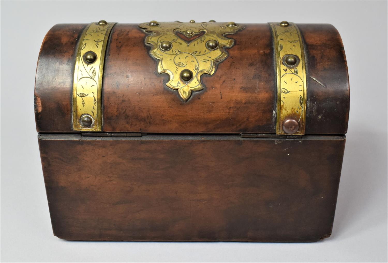 A Victorian Brass Mounted Burr Walnut, Dome Topped Casket with Hinged Lid, 20cm Wide - Image 5 of 5