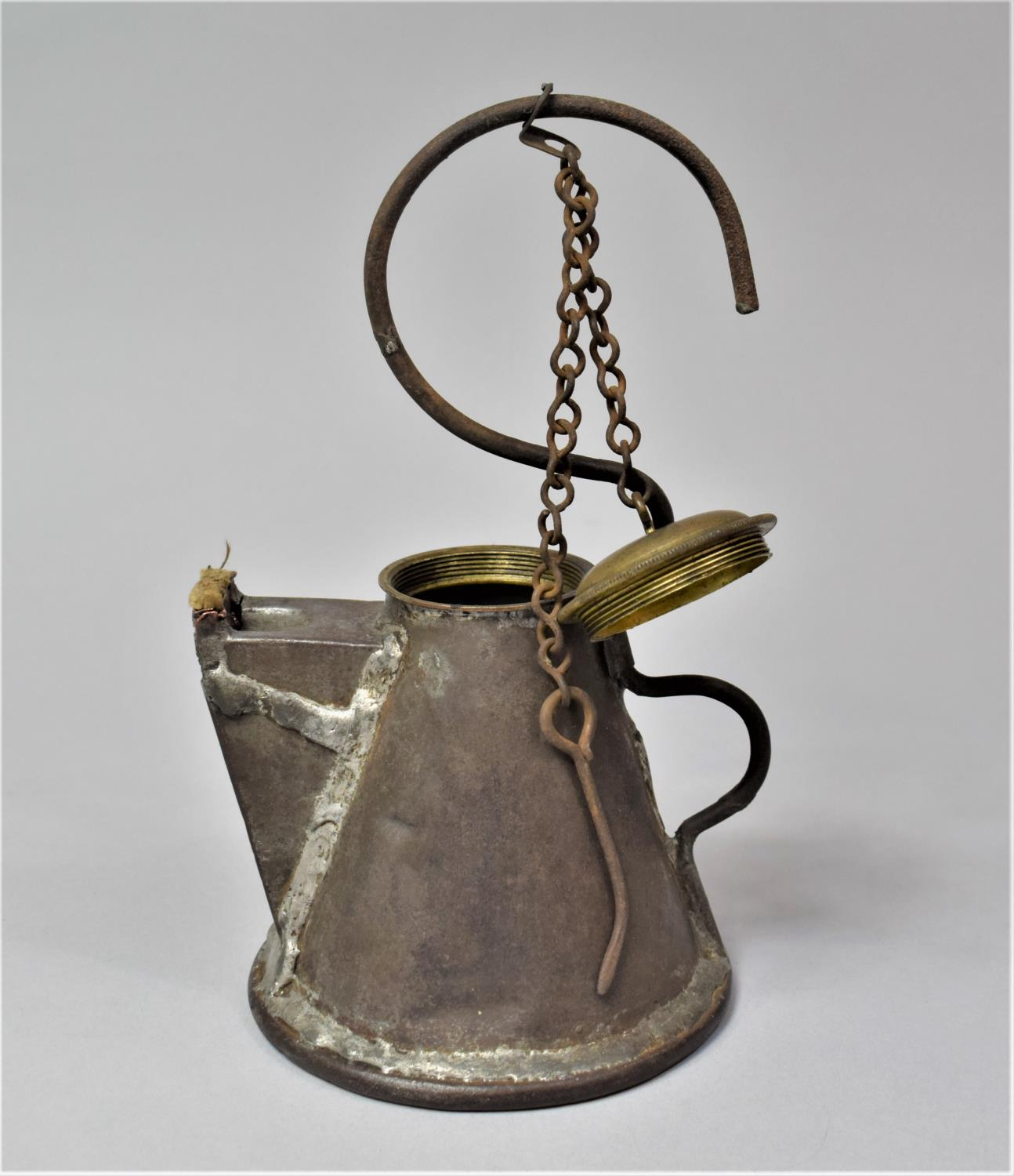A Late 19th Century Scottish Miner's Coal Face Tallow Lamp of Teapot Form with Screw Off Lid, 21cm - Image 7 of 7
