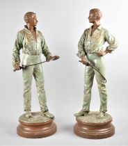 """A Pair of French Lacquered Spelter Studies of Fencers After Rene Charles Masse, """"Escrimeurs"""", One"""