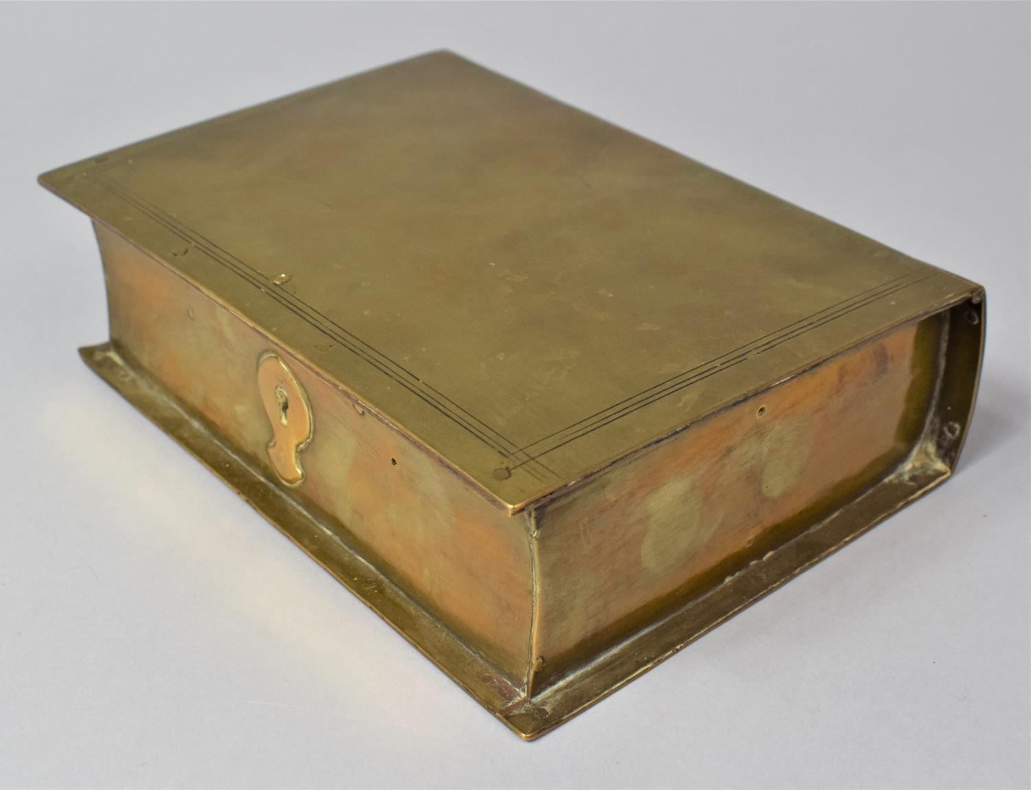 A Late Victorian Novelty Brass Box in the Form of a Book, with Hinged Lid to Fitted Interior, 13cm x - Image 4 of 8