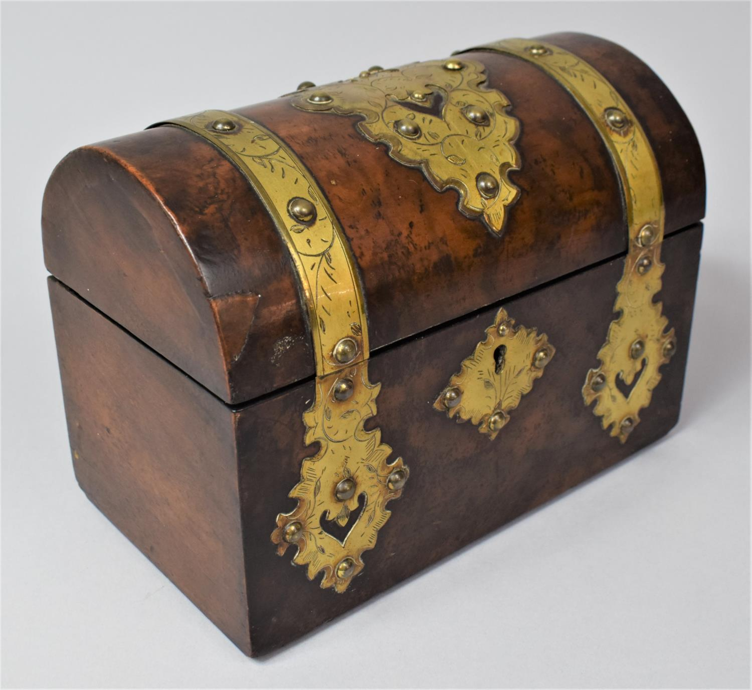 A Victorian Brass Mounted Burr Walnut, Dome Topped Casket with Hinged Lid, 20cm Wide - Image 2 of 5