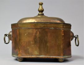 A Dutch Indonesian Colonial Brass Tea Caddy of Sarcophagus Form, with Two Ring Handles and Hinged