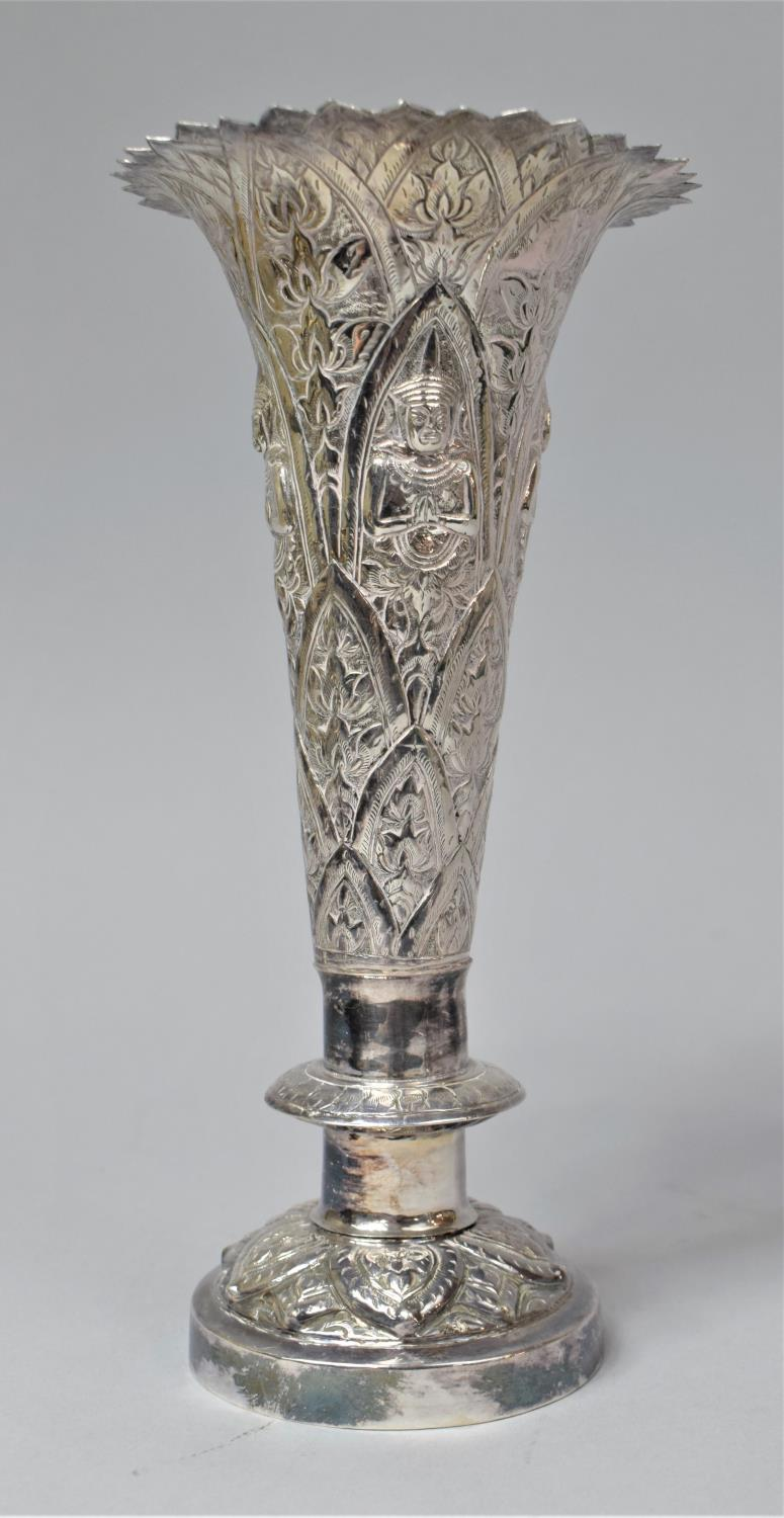 A Set of Three Indian Silver Trumpet Vases with Hand Hammered Repousse work, Depicting Namaste - Image 11 of 13