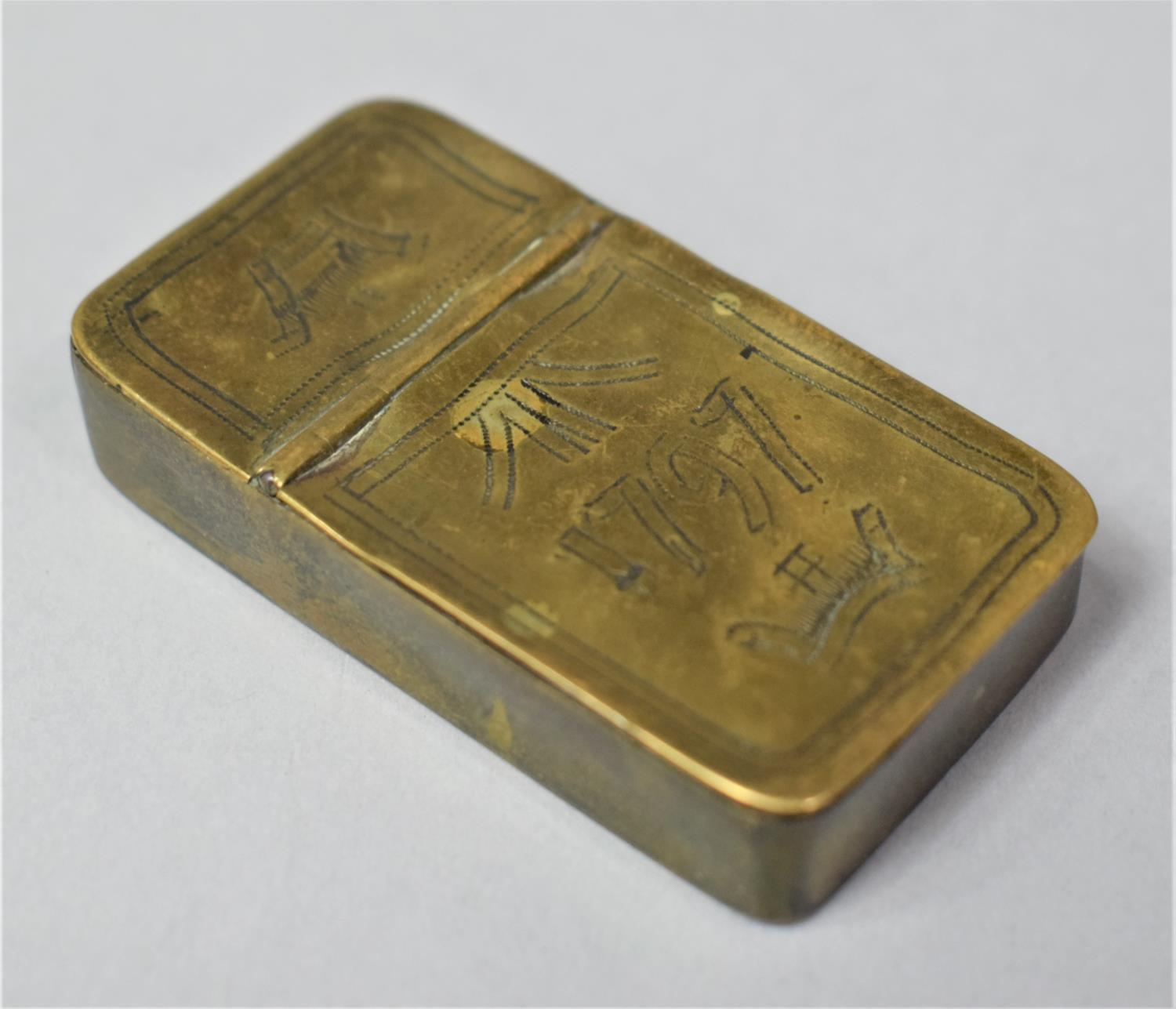 A Georgian Rectangular Brass Two Division Box, Possibly for Snuff, One Side Containing Lock of Hair, - Image 2 of 6
