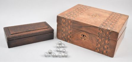 A Late 19th Century Banded Inlaid Writing Box with Pen Store and Ink Bottle Recess, Also Vintage Oak