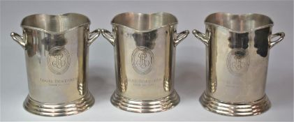A Set of Three Silver Plated Louis Roederer Champagne Buckets, each 23.5cm high
