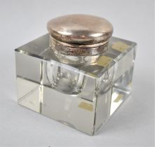 A Silver Mounted Perspex Desktop Inkwell of Square Form, 9cm x 6cm High