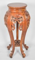 A Modern Chinese Vase Stand with Carved and Pierced Decoration, Four Scrolled Feet, 86cm high