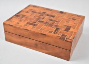 A Modern Wooden Box with Inlaid Hinged Lid, 16.5cm Wide