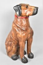 A Modern Large Carved Wooden Study of a Seated Dog, 76cm High
