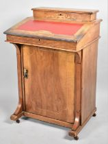 An Edwardian Inlaid Davenport with Hinged Door to Base Shelved Cupboard, Raised Stationery Store and