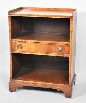 A Galleried Walnut Two Division Bookcase with Centre Drawer, 50cm Wide
