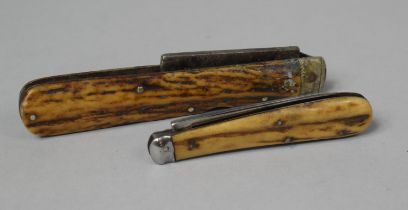A Bone Handled John Petty Folding Penknife, 15cm Long (Blade AF) Together with a Smaller Bone