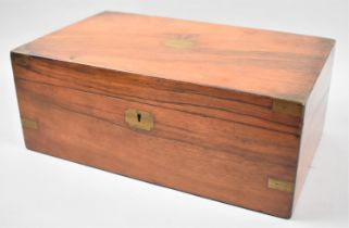 A Late 19th Century Brass Mounted Walnut Writing Slope with Fitted Interior, 39.56cm wide