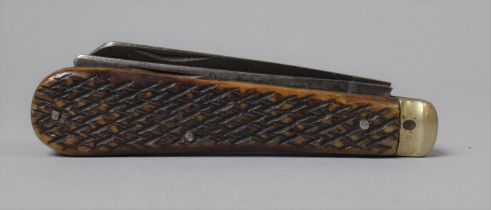 A Vintage Bone Handled Two Bladed Pocket Knife with Chequered Bone Grip, One Blade Inscribed Real