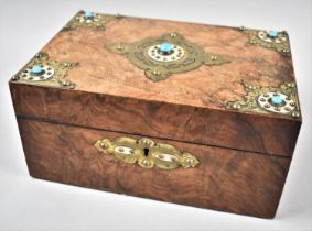 A Late 19th Century Burr Walnut Work Box, the Hinged Lid with Five Pale Blue Cabouchons, Missing