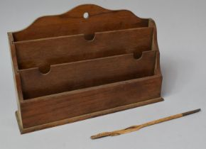 An Edwardian Three Division Desktop Stationery Store, 31.5cm Wide Together with a Nicely Carved