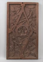 A Late 19th/Early 20th Century Carved Wooden Panel with Foliate Decoration and Centre Yorkshire