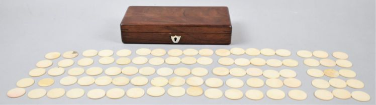 A Late 19th Century Mahogany Box Containing Ninety Games Counters, 21cm Wide