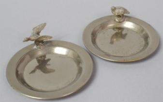 A Pair of Small White Metal Place Card Name Holder/Pin Dishes with Bird Mounts, Each 7.75cm Diameter