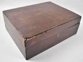 A 19th Century Inlaid Mahogany Work Box in Need of Restoration, 33cm Wide