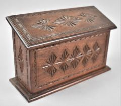 An Edwardian Carved Wooden Two Division Stationery Box with Sloping Hinged Lid, 22cm Wide