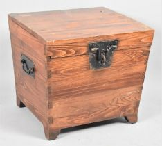 A Mid 20th Century Fitted Wooden Box with Iron Carrying Handles, 42cm x 46cm x 47cm High