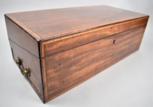 A Victorian Mahogany Writing Slope with Crossbanding to Front and Hinged Lid, Opening to Reveal
