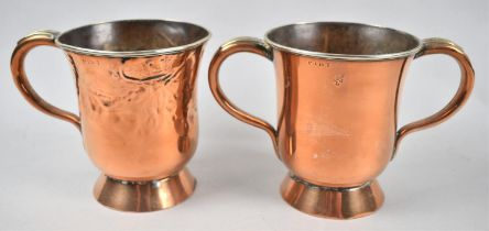 A Copper Pint Measure by Oldham, Nottingham, the Thumb Rest Inscribed W E 12, Together with a Two