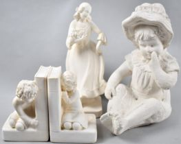 A Moulded Plaster Figure of Maiden with Flowers, Pair of Bookends Decorated with Kneeling Children