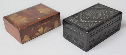 A Rectangular Carved Wooden Box Together with a Painted Swedish Souvenir Trinket Box for