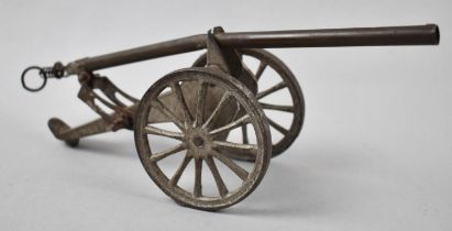 A Vintage Brass and Metal Toy Cannon, 25cm Long
