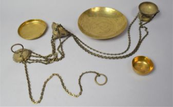 A Small Collection of Brasswares to Include Censer on Chain, Circular Tray and Small Bowl Together