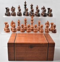 An Edwardian Inlaid Box Containing Later Russian Carved Wooden Chess Pieces, The Kings 11.5cm high