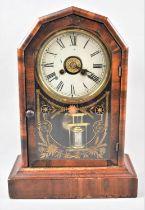 An American Mantle Clock, 35.5cm high on Plinth Base, 24.5cm Wide