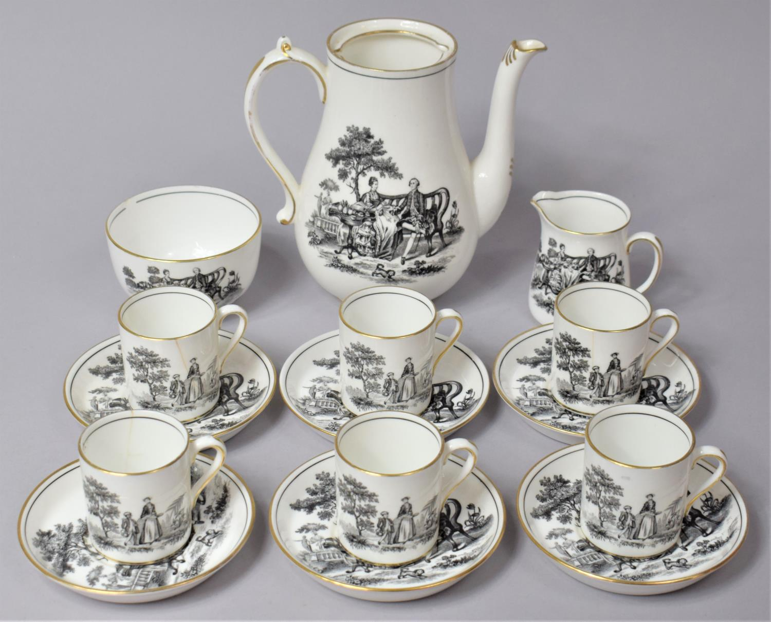 A New Chelsea Black Transfer Coffee Set to Comprise Coffee Pot (No Lid), Milk Jug, Six Cans and