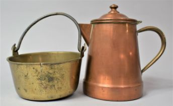 A Small Copper Coffee Pot with Hinged Lid, 19cm high Together with a Small Brass Jam Pan, 16cm