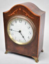 An Edwardian Inlaid Mahogany Mantle Clock with Ormolu Ogee Bracket Feet, Working Order, 18cm high