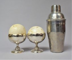 A Vintage Stainless Steel Cocktail Shaker Together with a Pair of Silver Plated Bowls and Two