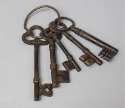 A Collection of Five 19th Century Metal Door Keys, The Largest 16.5cm