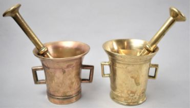 A Near Pair of Bronze and Brass Two Handled Mortars with Pestles, Each 10.5cm Diameter