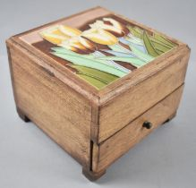 A Modern Tiled Topped Wooden Box with Hinged Lid and Base Drawer, 18cm wide