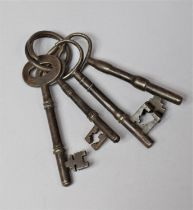 A Small Collection of Four 19th Century Door Keys, Longest 12cm