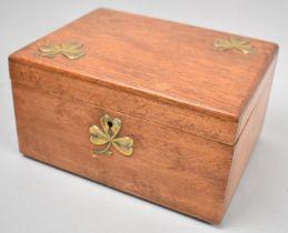 An Edwardian Oak Workbox with Brass Clover Leaf Mounts to Hinged Lid and Similar Key Escutcheon,