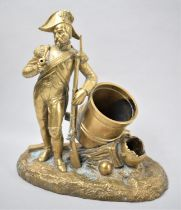 A Late 19th Century French Brass Novelty Smokers Stand in the Form of a Soldier Standing Next to